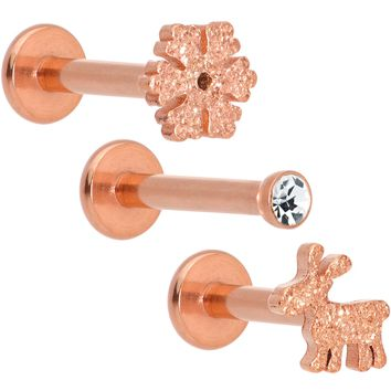 "16 Gauge 5/16"" Gem Rose Gold Tone Holiday Cartilage Tragus Earring Set of 3"