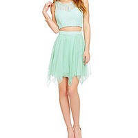 Xtraordinary 2-Piece Glitter Lace Bodice Dress - Mint