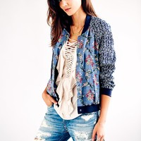 Free People Printed Baseball Jacket