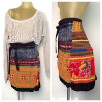 Colorful Wrap Skirt Handmade Ethnic Woven Patterns Knee Length Cross Stitch Vibrant Yellow Red Blue Hipster Boho Straight Skirt S Small