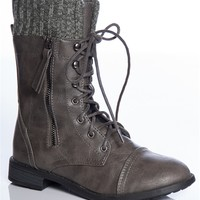 Cozy Combat Sweater Cuff Lace Up Combat Boots - Gray