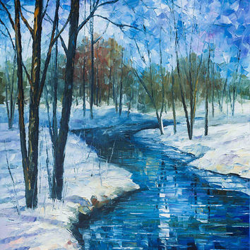Winter Landscape River Fine Art Painting On Canvas By Leonid Afremov - Frozen Stream