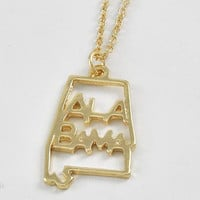 Alabama State Gold Necklace