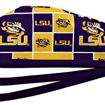 Men's Unlined Surgical Scrub Hat Cap in LSU Tigers Squares