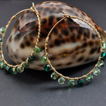 Green Crystal Hoops, Emerald Mint Peridot, Gold Wire Hoop Earrings