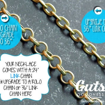 Change Your Chain to a Rolo Style on Your Inspirational Pendant Necklace with Motivational or Spiritual Quote for Customization