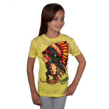 Ed Hardy - Native American Girls Youth Burnout T-Shirt