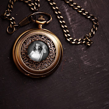 Vintage Style Gold Pocket Watch with Photo