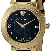 Versace Women's 'Daphnis' Swiss Quartz Stainless Steel and Leather Casual Watch, Color:Black (Model: V16050017)