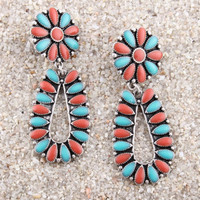 Sabina Turquoise and Red Drop Earrings - Earrings - Jewelry - Women's Accessories - Women's