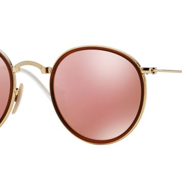 Authentic RAY-BAN Folding 3517 - 001/Z2 Sunglasses Gold/Mirrored Pink *NEW* 48mm