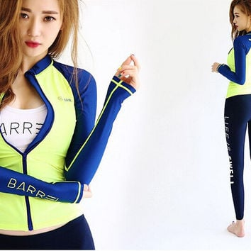 Sexy Comfortable High Quality Summer Korean Long Sleeve Zippers Outdoors Quick Dry Swimwear [9666772615]