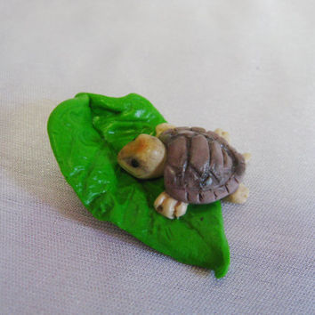 Miniature Turtle, Fairy Garden Turtle, TINY Miniature Turtle, Fairy Garden animals, Miniature Landscape,Polymer Clay Turtle