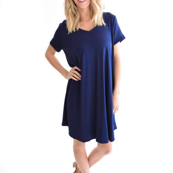 Summer V Neck Dress In Navy