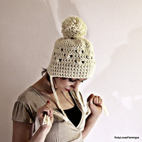 Ivory White Cream Crochet Hat With Pom Pom by RubyLovesFlamingos