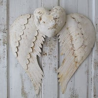 White rusty angel wings and heart wall hanging French Santos inspired oxidized metal cherub wing set hand cut metal decor anita spero design