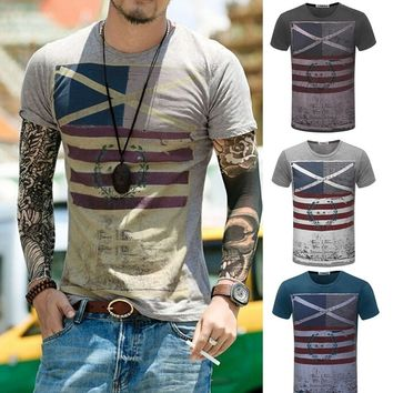 New Mens Fashion Casual Round Collar Jack Flag T-Shirt Slim Fit Short Sleeves Shirt
