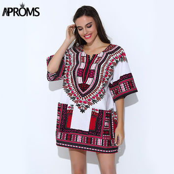 Aproms Traditional African Clothing for Womens Shirt  Mens Classic Bazin Riche Dashiki Tops Plus Size Autumn Print Blouses 10716