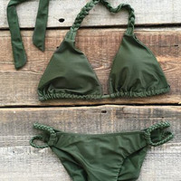 Cupshe Pick Me Up Solid Color Halter Bikini Set