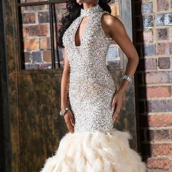 Jovani Beaded Halter Dress CB22294