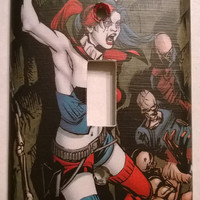 Comic Book Harley Quinn comic light switch cover