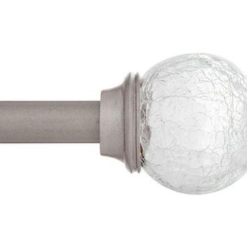 "Kenney™ KN75301 Walden Crackled Glass Ball Finial Curtain Rod, Pewter, 48"" - 86"""