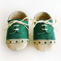 Baby Shoes Boy or Girl- Green Canvas with Brogued Leather Crib Shoes