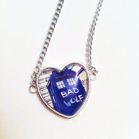Doctor Who Bad Wolf Tardis Heart Necklace