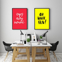"""PRINTBALE ART - Double Poster """" Ehjoy every moment"""" & Oh What Fun"""""""