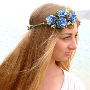 Blue Flower Crown, blue roses Wire vine crown , rustic wreath , vine crown , flower crown, woodland headpiece