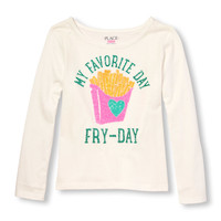 Girls Long Sleeve Embellished Food Graphic Top | The Children's Place