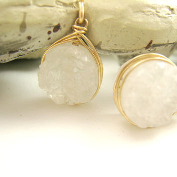 White Druzy Drop Dangle Earrings Gift Spring
