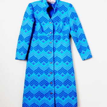 Vintage 1960's Mod Chevron Print Coat Long Sleeve Jacket - Size Small