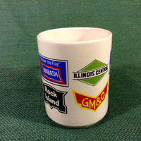 Vintage Mug with 9 RR Railroad Logos - Wabash - Rock Island - Frisco Lines - GM&O - Illinois Central - Katy - Pennsylvania - New York