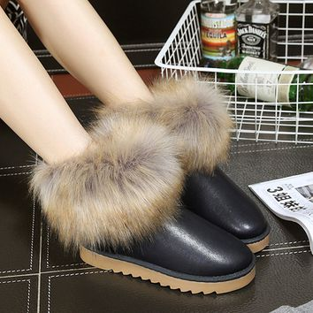 Fashion Women's Leather Shoes Warm Fringed Fur Winter Snow Casual Boots