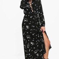 Alessa Floral Lace Up Split Front Maxi Dress | Boohoo