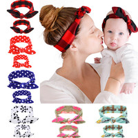 2Pcs Set Mommy and me Matching Headbands Photo Prop Gift for Mom and Baby Rabbit Ears Elastic Cloth Bowknot Headband Accessories