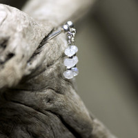 Three hand cut milky moonstones on sterling silver stud earrings