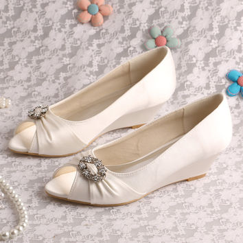 20 Colors Wedopus Custom Made Peep Toe Pumps Wedge Heel Wedding Shoes Off-white Satin