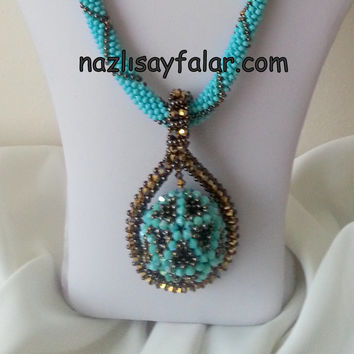 Christmas Sale - Necklace - Beaded Necklace - Blue Crystal Necklace - Red sead beads-Custom Design-Rug pattern necklace