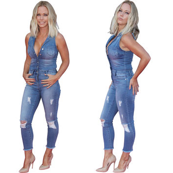 Ripped Buttoned Down Denim Jumpsuit 22846