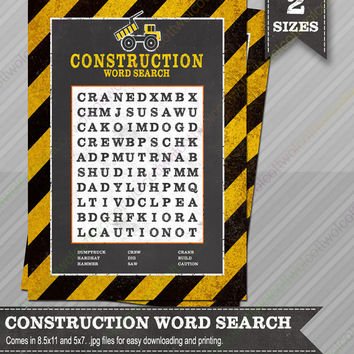 Construction Word Search - Construction party - Construction party supplies - Party Games - Construction party games - Word Search Game