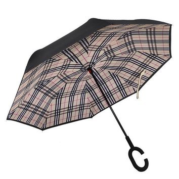 Ceiourich Windproof Double Layer Folding Inverted Umbrella Self Stand Upside Down Car Reverse Umbrellas C-handle Umbrella-001