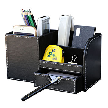 Wooden leather multi-functional desk stationery organizer storage box pen pencil box holder case