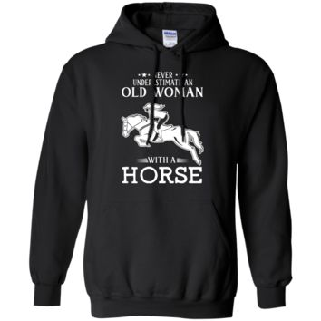 OLD WOMAN WITH A HORSE Pullover Hoodie 8 oz.