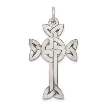 925 Sterling Silver Antiqued, Textured and Brushed Celtic Cross Shaped Pendant