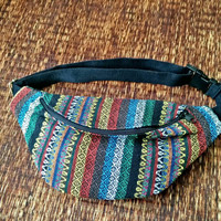 Festival Tribal Fanny pack boho Styles cycling bag Travel Hipster phanny waist woven bag Ethnic Hippie Bohemian Stripe unisex in Multicolor