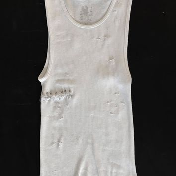 Punk Rock Lies Cutoff Pinned & Distressed Tank 004 - White
