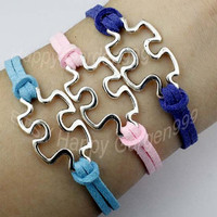Puzzle piece and autism awareness charm bracelet in silver -wax cords & korean cashmere - choose your favourite color -friendship gift-Q873