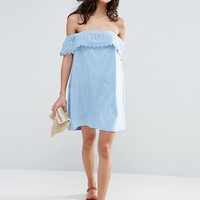ASOS Off Shoulder Sundress with Lace Detail at asos.com